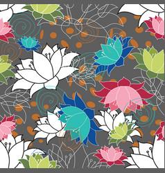 lots lotus flowers waterlilys nondirectional vector image