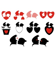 Love silhouette symbols collection vector image