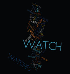 mens watches text background word cloud concept vector image