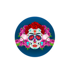 mexican skull with flowers day dead vector image