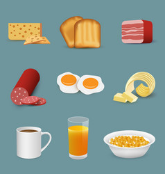 Morning fresh food and drinks symbols breakfast vector