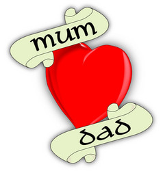 Mum and dad heart vector