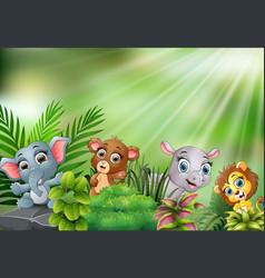 Nature scene with baby animals cartoon vector