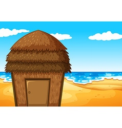 Nature scene with bungalow on the beach vector