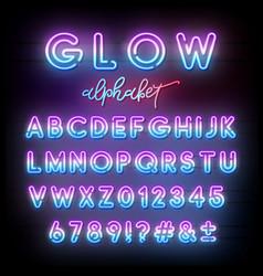 neon light alphabet multicolor glowing typeface vector image
