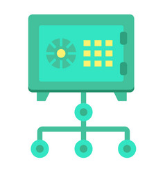 Network safe vault flat icon strongbox vector