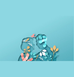 Old man woman couple with papercut nature plant vector