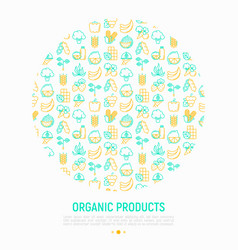 organic products concept in circle vector image