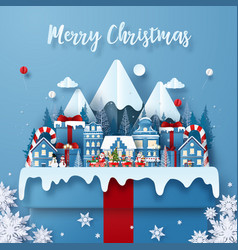 origami paper art postcard christmas train in vector image