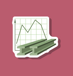 Paper sticker on stylish background falling graph vector