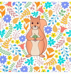 Pattern with orange squirrel and flowers vector