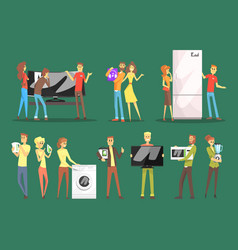 people choosing and buying home appliances set vector image