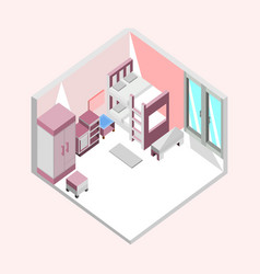 Pink bedroom isometric home interior design vector