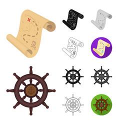 Pirate sea robber cartoonblackflatmonochrome vector