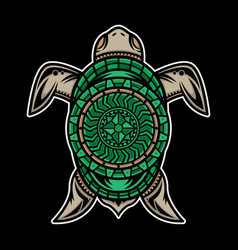 Polynesian turtle tattoo design vector