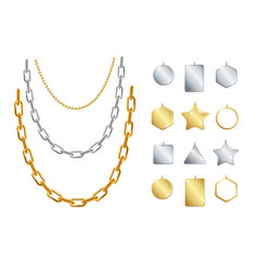 realistic detailed 3d gold and silver chain vector image