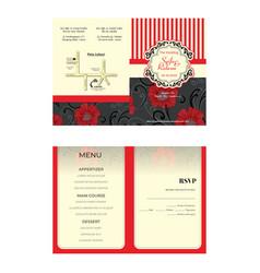 Red flower wedding invitation template vector