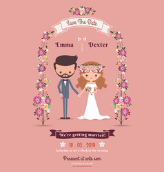 Rustic bohemian cartoon couple wedding card vector