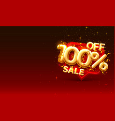 sale 100 off ballon number on red background vector image