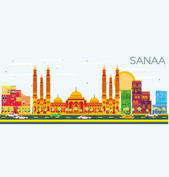 sanaa yemen skyline with color buildings vector image
