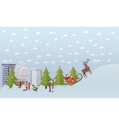 Santa Claus riding sleigh vector image