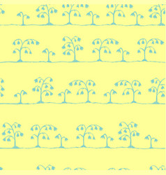 seamless sketch flowers pattern blue on vector image