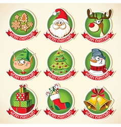 set christmas cartoon stickers vector image