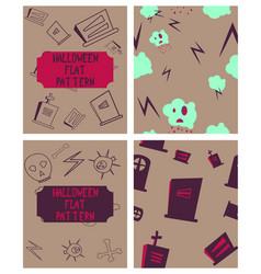 set of halloween festive pattern endless vector image