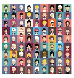 Set of people icons in flat style with faces 01 b vector