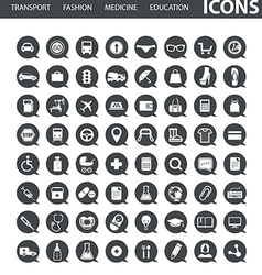 Set of web icons in speech clouds vector image