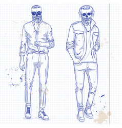 set two men with skull beard vector image