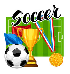 soccer or football background with ball vector image