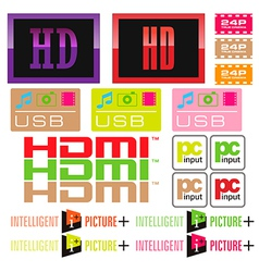 Sticker tv and icon vector image
