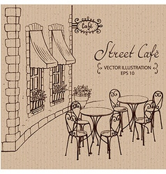 Street Cafe with tables vector image