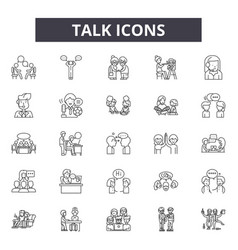 talk line icons signs set linear concept vector image