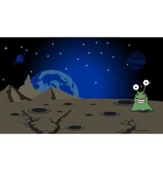 The green alien landing on unknown planet vector image