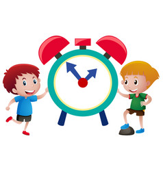 Two boys and giant alarm clock vector