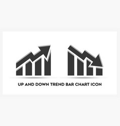 up and down trend bar chart business analytic vector image