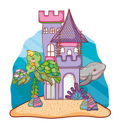 whale and turtles animals in the clastle with vector image