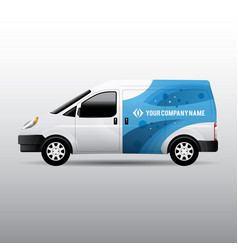 white van with corporate identity design vector image