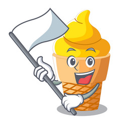 with flag banana ice cream in cone character vector image