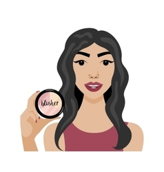 With sexy girl with blusher in vector