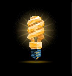 Yellow 3d low poly fluorescent light bulb model vector