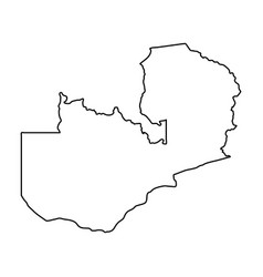 zambia map of black contour curves on white vector image