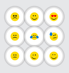 flat icon gesture set of love joy tears and vector image
