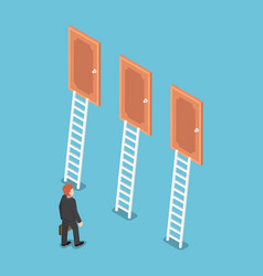isometric businessman standing in front of three vector image vector image