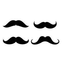 mustaches icons set in black and white vector image