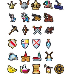 Set of medieval icons vector image vector image