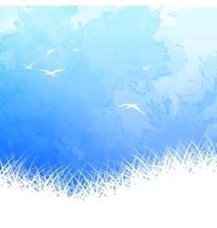 Sky Bird Silhouette Watercolor vector image