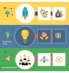 Startup crowdfunding flat horizontal banners set vector image